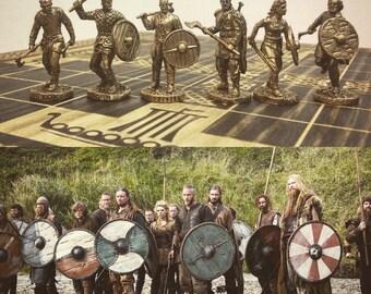 Set of 6 bronze figures of Vikings