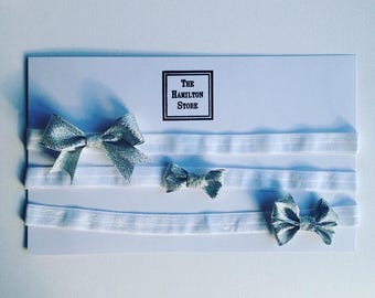 Silver glitter BABY hair bow set (WHITE HEADBANDS)
