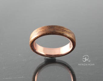 Bentwood wood ring mahogany copper, gift, engagement, unisex, mating, for him, for you, birthday