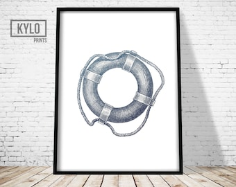 Life Buoy Print, Nautical Print, Wall Art print, Nautical art, Lifebuoy art, Sea Print, Modern Print, Minimalist, Nautical Drawing, Digital