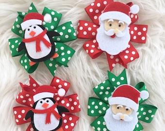 Christmas bows- christmas headbands- santa bows- penguin bows- holiday headbands