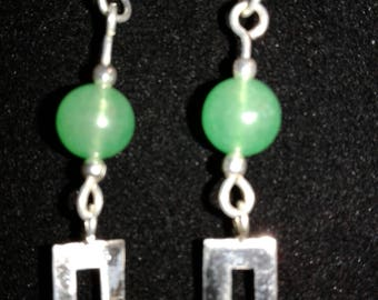 Sterling Silver Dangle Earrings with Aventurine beads