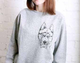 Husky Drawing Pet lovers Sweatshirt Long sleeve Animal Eko-paint Valnetine's day gift Unisex Dog Unisex Jesrey Natural eko-freandly