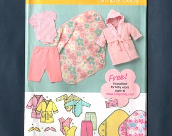 Simplicity 3711 Babies Layette Sewing Pattern, Body Suit, Pants, Robe, Botties, Blanket, Sizes 1 Month to 18 Months, New