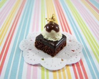 Polymer Clay Brownie Sundae Charm, Miniature Food, Food Jewelry, Miniature Food Jewelry, Brownie Sundae Charm