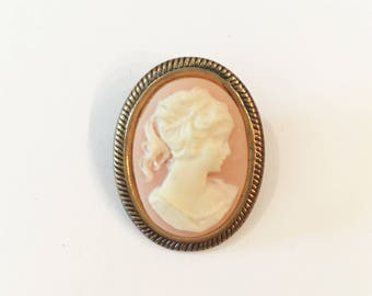 Cameo Brooch, Vintage Cameo Pin, Brass Pin, Pink and White Cameo, Victorian Style Jewelry, Steampunk Jewelry, Unique Vintage,