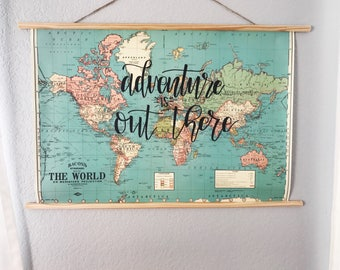 Hand Lettered Map Poster, Map Decor, Custom Map, Nursery Decor, Travel Decor, Adventure Is Out There Map Poster