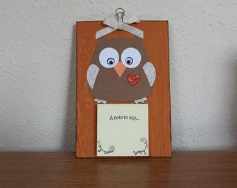 3D Owl Post It Note/Sticky Notes/Message Pad Holder - Decorative/Gift/Wall mountable