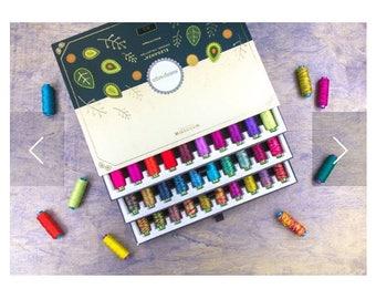 Sue Spargo WonderFil™ Embroidery Thread Gift Box, cross stitch thread, Sue Spargo  thread pack, needle work thread, thread gift Pack of 90