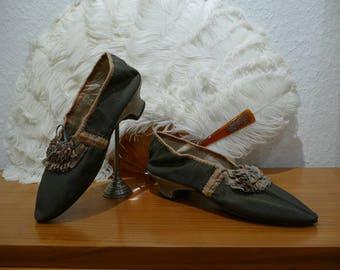 1789-1799 Rococo Shoes, antique shoes, antique pumps, French Revolution