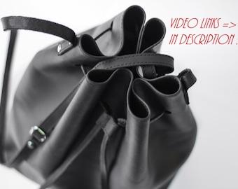 Leather Bucket Bag, Black, Handmade Bag, Tote, Handbags, Shoulder Bag, Leather Pouch, Drawstring Bag, Bags, Leather Bags, Black Bag