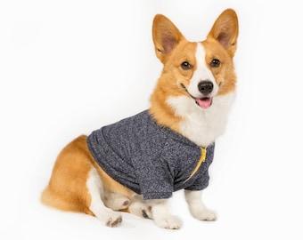 Corgi Zip Up Jacket - Grey + Yellow  (clothes for corgi dogs) corgi sweater, corgi clothes, corgi jacket