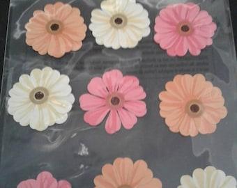 Martha Stewart Crafts Pink Orange Cream Zinnia Stickers 12 Piece