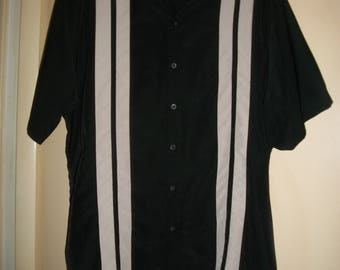 Men's Vintage 90's Black, White Bowling, Rockabilly Style Shirt Size 2XLT