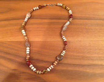 Vintage Stone and Glass Beaded Necklace