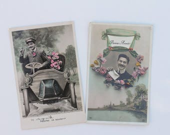 French antique postcards - set of 2