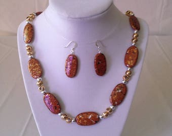 Brown Speckled Necklace Earring Set