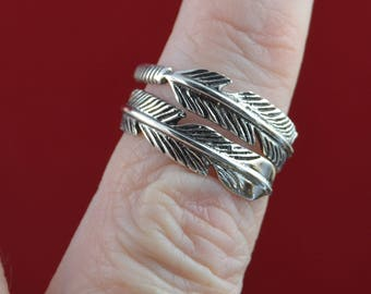 Sterling Silver adjustable feather band Ring in sizes 6, 7, 9, 10