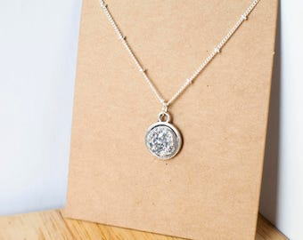 Silver druzy necklace with silver chain and setting 15mm