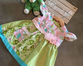 Baby Pea pods & Butter flower Baby Girl Dress