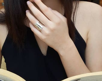 Sterling Silver Hammered Shield Statement Ring | Hammered Rings  Gift ideas for Her | Mothers Day