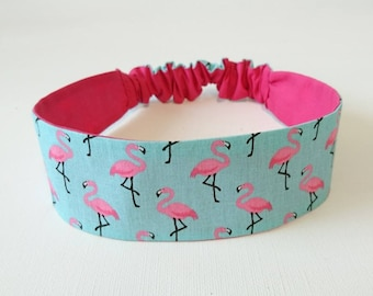 Elastic headband, headband, reversible headband girl Flamingo pattern pink