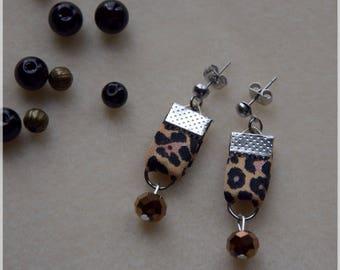 Stud Earrings Leopard print Leopard, Brown beads copper, stainless steel findings
