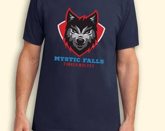 Mystic Falls Timberwolves Crest Vampire Diaries Tv Series Inspired. Male and Female T-shirt