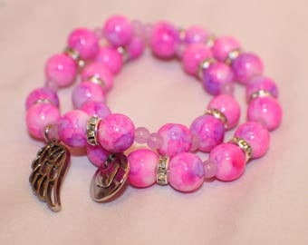 Pink Marbled Look Love Stretch Bracelets- Glass Beads- Friendship Bracelets