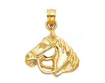 14K Solid Yellow Gold Horse Head Pendant - Polished Necklace Charm
