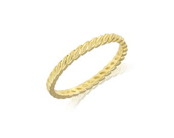 10K Solid Yellow Gold Wreath Ring - Filigree Leaf Stackable Finger Knuckle Midi Thumb Band
