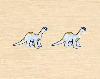 Set of 2 pcs Mini White Dinosaur Gold Dot Iron On Patches Sew On Appliques