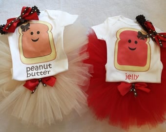 Peanut Butter and Jelly outfits for twins/Peanut butter and jelly shirts/Peanut Butter and Jelly Red jelly/Peanut butter and jelly for girls