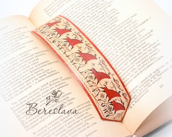 Bookmark-Gift for everyone-Hand painted Bookmark-Gift for a holiday-Birch bark-Hand made gift-Red horses-Russian suvenir-Ethno