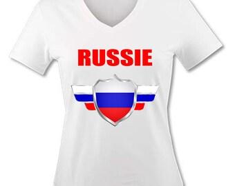 V neck women T-shirt - Russia - 2018 World Cup