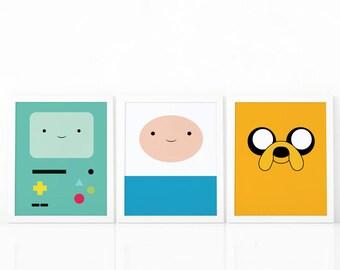 set of 3 Adventure Time, Finn adventure time, Jake the dog,Bmo Adventure Time, Digital prints, set of 3 prints, Adventure time set, Cartoon