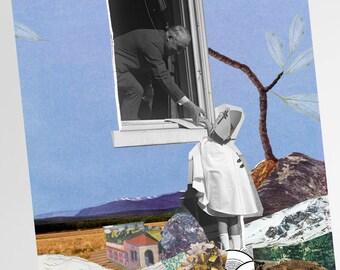 Goodbye big sky, collage art, of Drea
