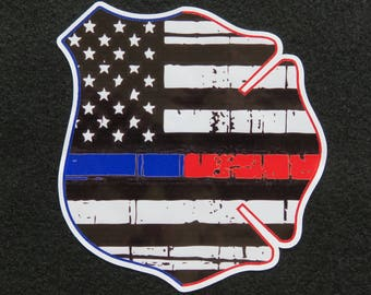 "American Flag Thin Blue Red Line Police Fire Mashup 4"" Decal"