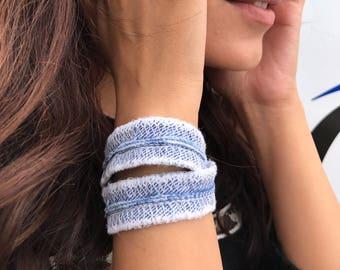 Denim Wrap Bracelet , Jean Bracelet, Grunge Bracelet , Summer Bracelet, Wrap Bracelet