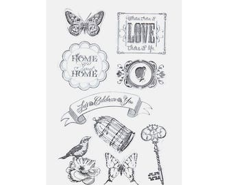 Clear stamps, stamps transparent 9 piece set