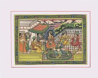 Dancing Courtyard, Art of Rajasthan, Mixed Media