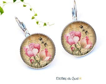 Pink flowers, romantic ref.218 Leverback Earrings