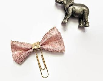 Pink and Gold Bow Ribbon Planner Clip