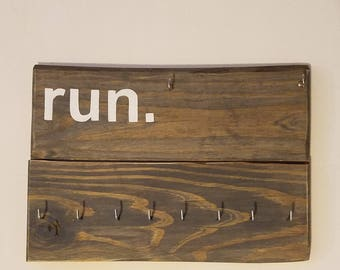 Rustic Running Medal and Bib Holder Display
