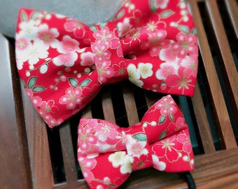 Red Spring Flower Pet Bow Tie ( Dog / Cat )