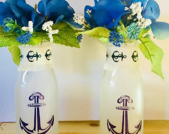 Anchor Frosted Bottles Floral Arrangement/Blue Hydrangeas/Blue and White Accent Florals/Set of 2