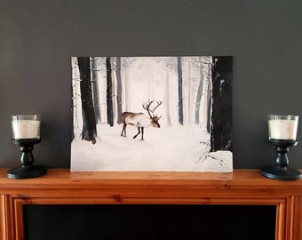 "A2 Arylic Winter Forest and Reindeer Board (16.5x23.5"")"