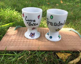 Hand painted personalised grandparents egg cups. Nanny, grandad