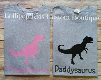Daddyosaurus or Pregosaurus tee. (Please message me first prior to purchase to request a different color tee or wording)