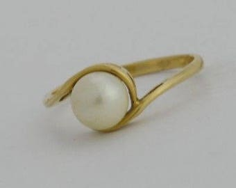 14k Yellow Gold Estate 6.5 mm Pearl Ring Size 6.75